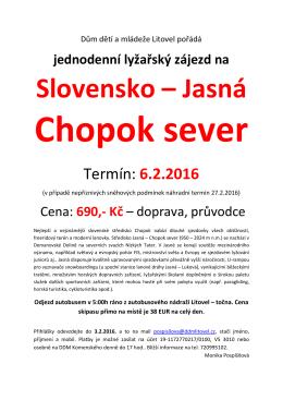 Slovensko – Jasná - Dům dětí a mládeže Litovel