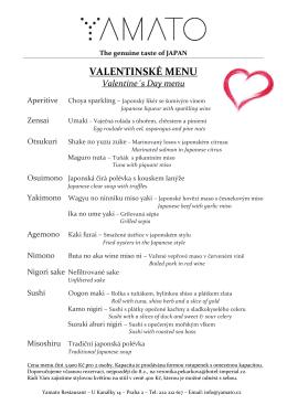 Valentýnské menu 2016