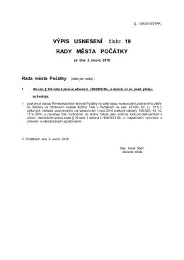 Výpis usnesení 19. schůze Rady města Počátky ze dne 3.února 2016