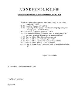 Usnesení OZ ze dne 3.2.2016