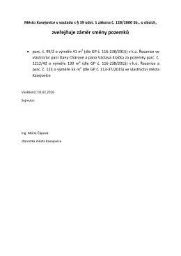 Záměr směny pozemků v k.ú. Řesanice