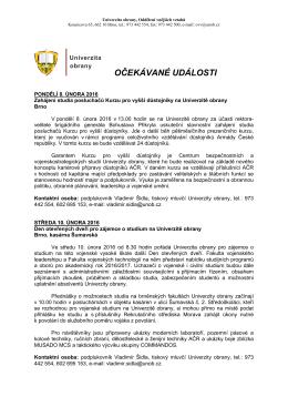 8. - 14. 2. 2016 - Univerzita obrany