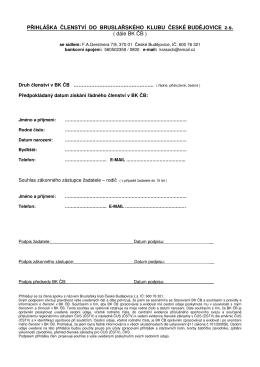 Příhláška k členství - Bruslařský klub České Budějovice
