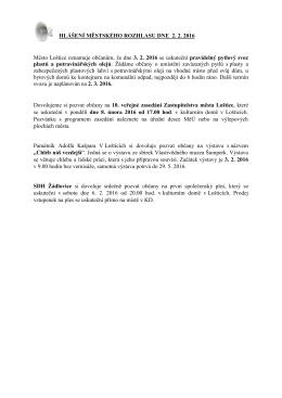 Hlášení městského rozhlasu dne 2.2.2016