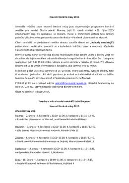 Krocení literární múzy 2016 - Památník písemnictví na Moravě