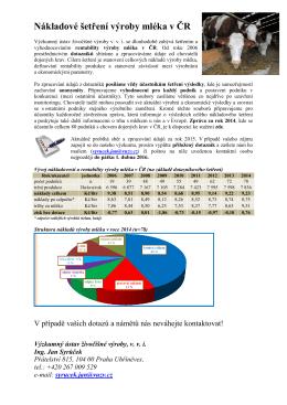 Nákladové šetření výroby mléka v ČR