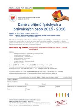 Daně z příjmů fyzických a právnických osob 2015 - 2016
