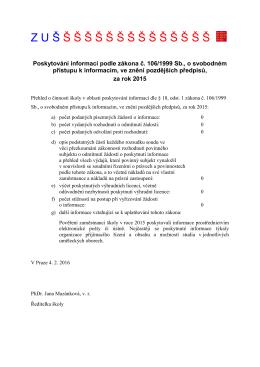 Zpráva o poskytování informací za rok 2015