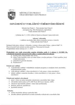 oznámení ovyhlášení výběrového řízení