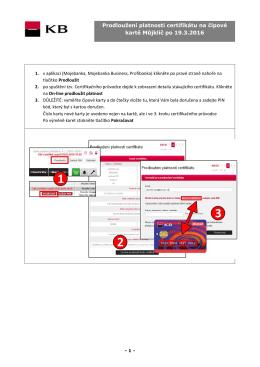 Prodloužení platnosti certifikátu na čipové kartě Můjklíč po 19.3.2016