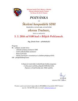 pozvánka - Okresní sdružení hasičů Trutnov