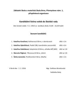 Kandidátní listina voleb do školské rady