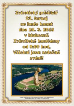 Zvírotický pršíčkář 23. turnaj se bude konat dne 26. 3. 2016 v