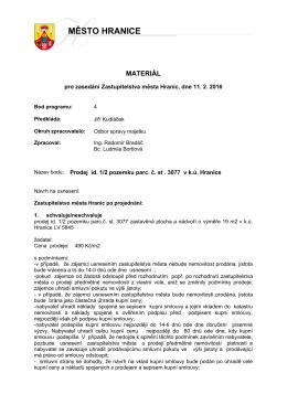 Prodej id. 1/2 pozemku parc. č. st . 3077 v k.ú. Hranice