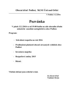 Obecní úřad v Podlesí, 561 13 SUDSLAVA, okr. Ústí nad Orlicí