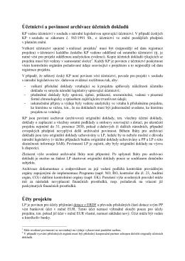 Účetnictví a povinnost archivace účetních dokladů Účty projektu