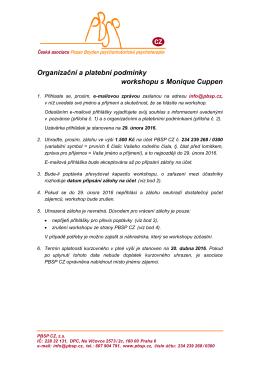 Organizační a platební podmínky workshopu