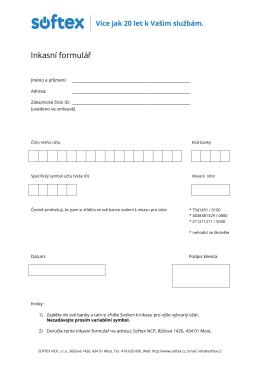 Inkasní formulář - SOFTEX NCP, sro