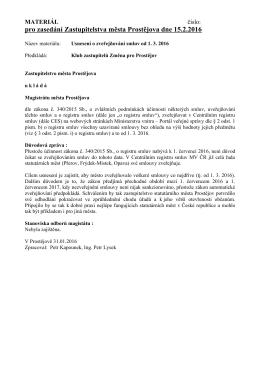 pro zasedání Zastupitelstva města Prostějova dne 15.2.2016