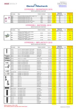 implantáty 2016 výprodej - materiál 2016 výprodej