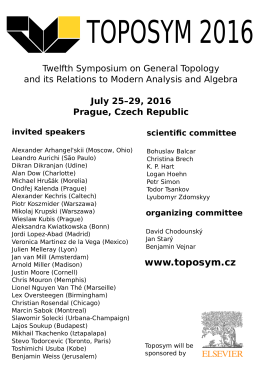 July 25–29, 2016 Prague, Czech Republic invited speakers
