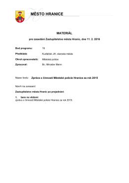 Zpráva o činnosti Městské policie Hranice za rok 2015