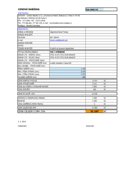 Tabulka pro výpočet ceny vestavné skříně 02-2014