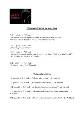Plán seminářů KAR na únor 2016