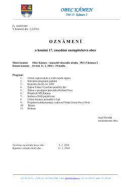 Oznámení o konání 17. zasedání zastupitelstva obce