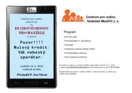 Centrum pro rodinu Valašské Meziříčí z. s. Program: