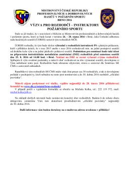 Výzva rozhodčí MČR 2016