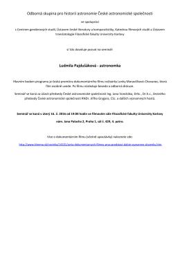 Pozvánka: Ludmila Pajdušáková