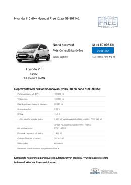 Hyundai i10 díky Hyundai Free již za 59 997 Kč