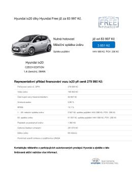 Hyundai ix20 díky Hyundai Free již za 83 997 Kč