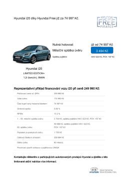 Hyundai i20 díky Hyundai Free již za 74 997 Kč. Nutná hotovost již