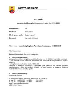 Investiční příspěvek Aeroklubu Hranice z.s., IČ