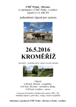 Jednodenní zájezd pro seniory 26. 5. 2016