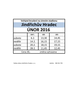 veřejné bruslení únor 2016 - Služby města Jindřichův Hradec