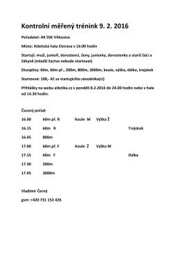 Kontrolní měřený trénink 9. 2. 2016