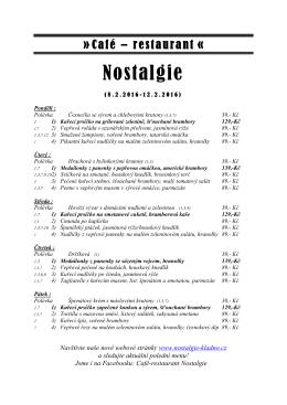 Café – restaurant « - NOSTALGIE Restaurace Kladno
