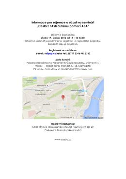 """Informace pro zájemce o účast na semináři """"Cesta z PASti autismu"""