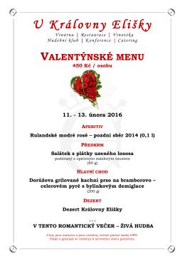 Valentýnské menu - U KRÁLOVNY ELIŠKY, as