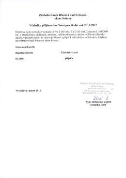 Přijímací řízení doplnění - Základní škola Březová nad Svitavou