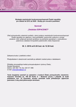 """Seminář """"Databáze ESPACENET"""" - Úřad průmyslového vlastnictví"""