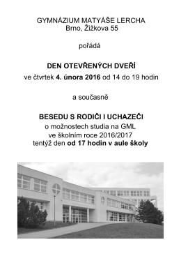 Den otevřených dveří - Gymnázium Matyáše Lercha