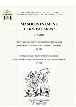 masopustní menu carnival menu