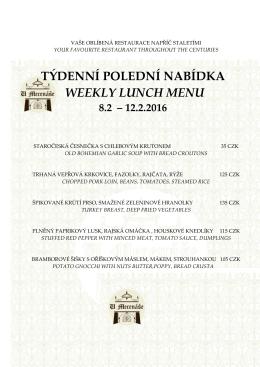 týdenní polední nabídka weekly lunch menu