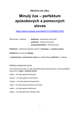 perfekta způsobových a pomocných sloves v PDF