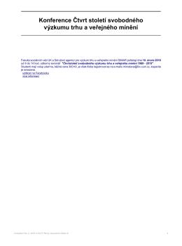 Konference Čtvrt století svobodného výzkumu trhu a veřejného mínění