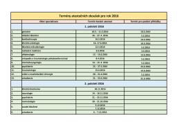 Termíny atestačních zkoušek pro rok 2016